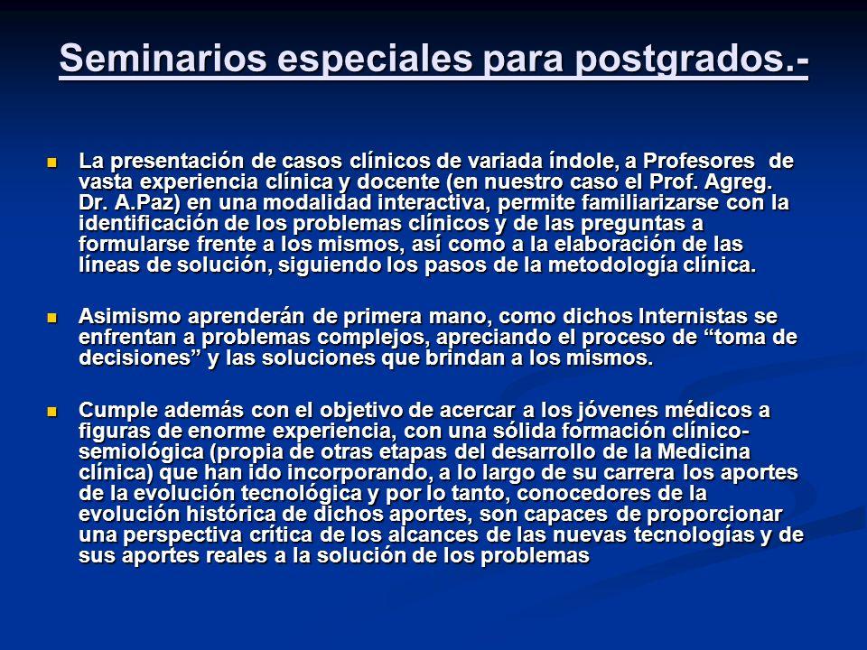 Seminarios especiales para postgrados.- La presentación de casos clínicos de variada índole, a Profesores de vasta experiencia clínica y docente (en nuestro caso el Prof.