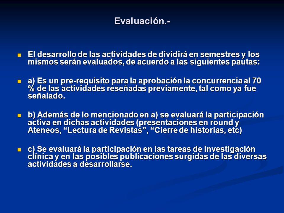 Evaluación.- El desarrollo de las actividades de dividirá en semestres y los mismos serán evaluados, de acuerdo a las siguientes pautas: El desarrollo