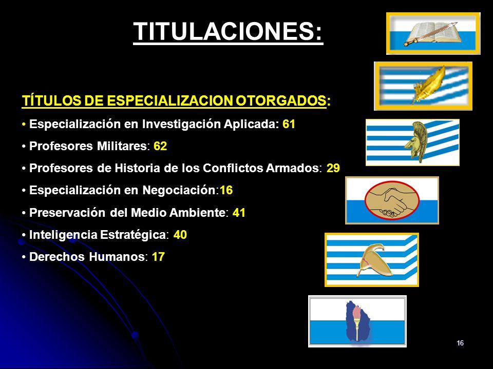15 TITULACIONES: TÍTULOS DE GRADO OTORGADOS: Licenciados en Ciencias Militares: 31 TÍTULOS TERCIARIOS: Ingenieros Militares: 16 3 ING.