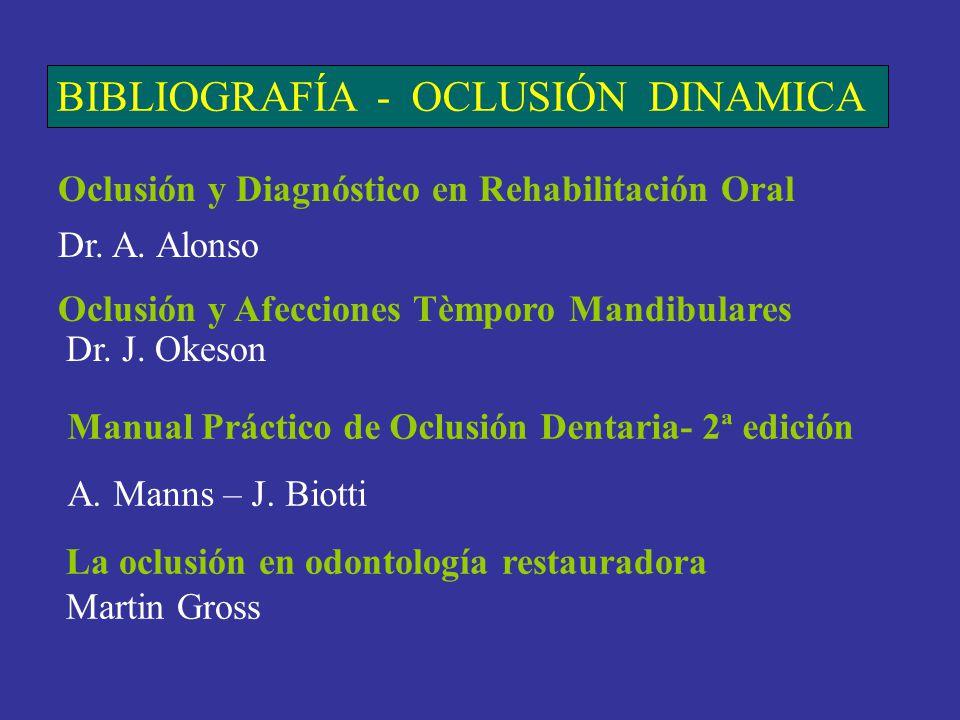 BIBLIOGRAFÍA - OCLUSIÓN DINAMICA Oclusión y Diagnóstico en Rehabilitación Oral Dr. A. Alonso Oclusión y Afecciones Tèmporo Mandibulares Dr. J. Okeson