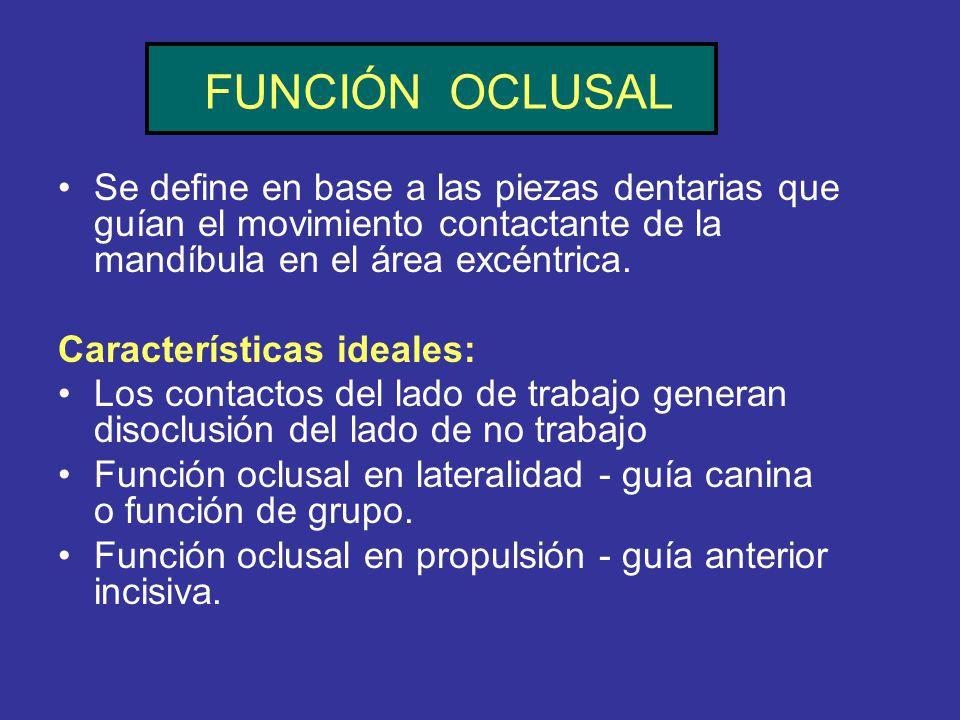FUNCIÓN OCLUSAL Se define en base a las piezas dentarias que guían el movimiento contactante de la mandíbula en el área excéntrica. Características id