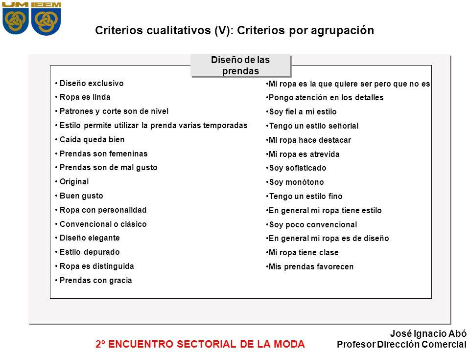 2º ENCUENTRO SECTORIAL DE LA MODA José Ignacio Abó Profesor Dirección Comercial Criterios cualitativos (V): Criterios por agrupación Diseño exclusivo