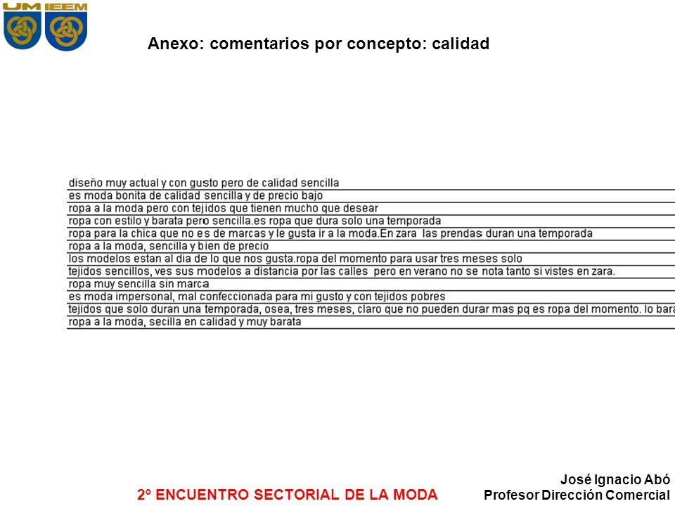2º ENCUENTRO SECTORIAL DE LA MODA José Ignacio Abó Profesor Dirección Comercial Anexo: comentarios por concepto: calidad