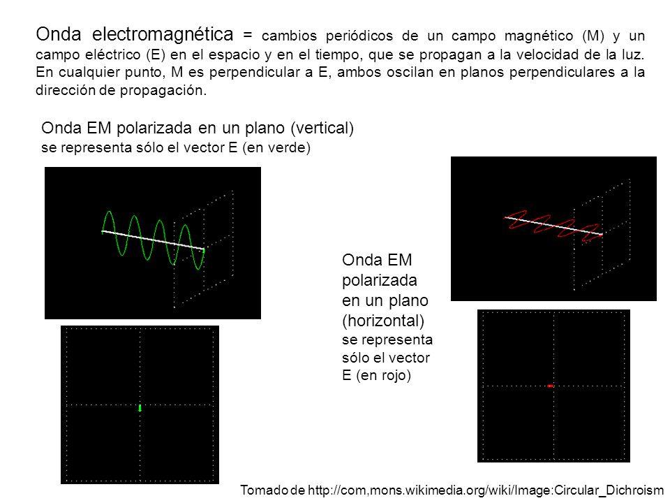 Onda electromagnética = cambios periódicos de un campo magnético (M) y un campo eléctrico (E) en el espacio y en el tiempo, que se propagan a la veloc
