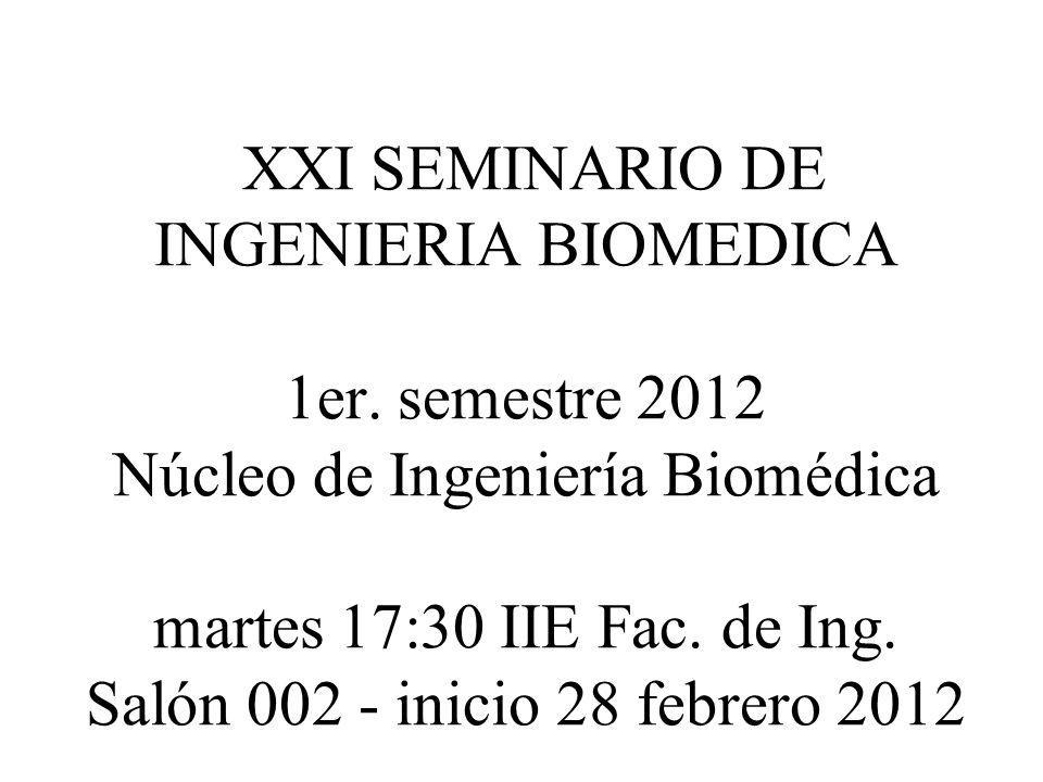 XXI SEMINARIO DE INGENIERIA BIOMEDICA 6 de marzo 2012 Prof.