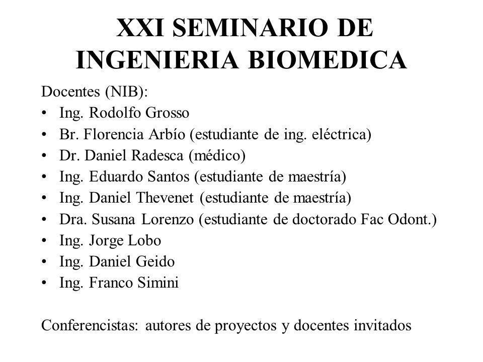 XXI SEMINARIO DE INGENIERIA BIOMEDICA Docentes (NIB): Ing. Rodolfo Grosso Br. Florencia Arbío (estudiante de ing. eléctrica) Dr. Daniel Radesca (médic