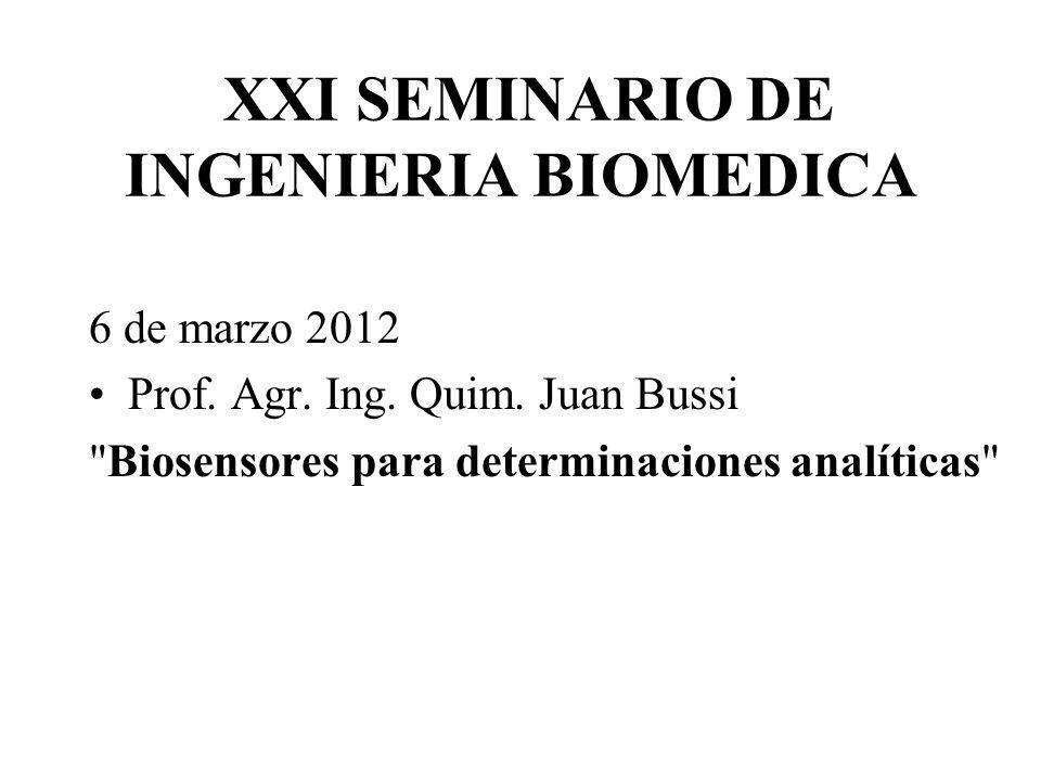 XXI SEMINARIO DE INGENIERIA BIOMEDICA 6 de marzo 2012 Prof. Agr. Ing. Quim. Juan Bussi