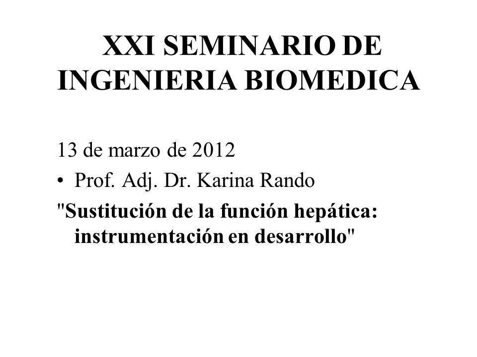 XXI SEMINARIO DE INGENIERIA BIOMEDICA 13 de marzo de 2012 Prof. Adj. Dr. Karina Rando