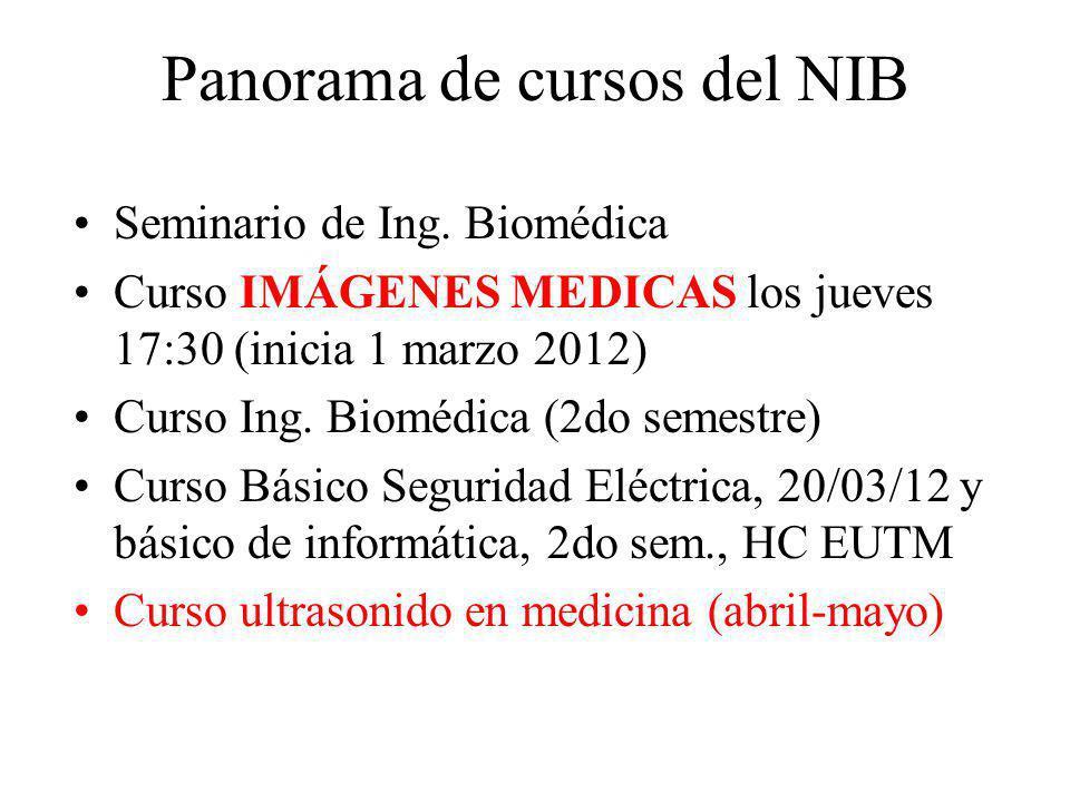 Panorama de cursos del NIB Seminario de Ing. Biomédica Curso IMÁGENES MEDICAS los jueves 17:30 (inicia 1 marzo 2012) Curso Ing. Biomédica (2do semestr
