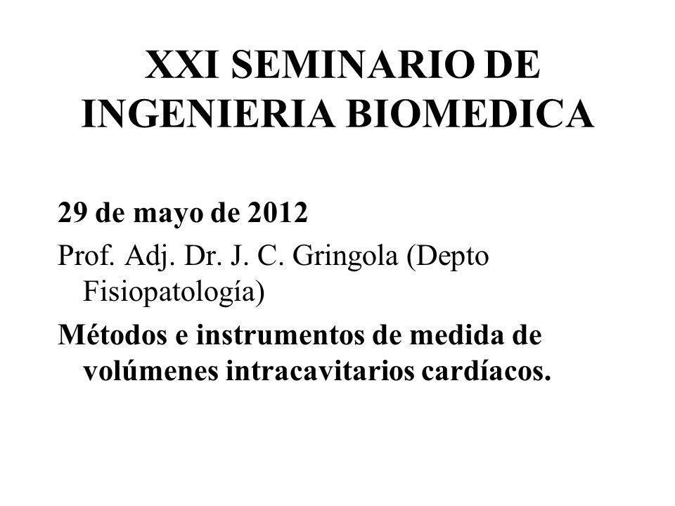XXI SEMINARIO DE INGENIERIA BIOMEDICA 29 de mayo de 2012 Prof. Adj. Dr. J. C. Gringola (Depto Fisiopatología) Métodos e instrumentos de medida de volú