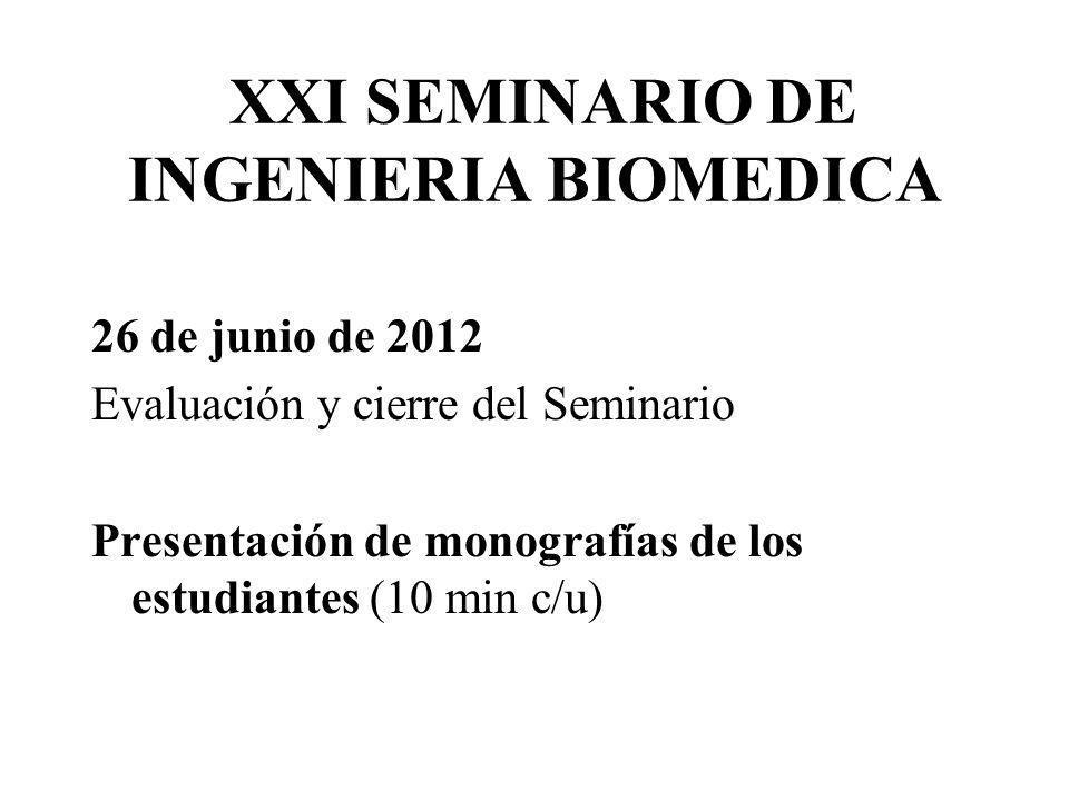 XXI SEMINARIO DE INGENIERIA BIOMEDICA 26 de junio de 2012 Evaluación y cierre del Seminario Presentación de monografías de los estudiantes (10 min c/u