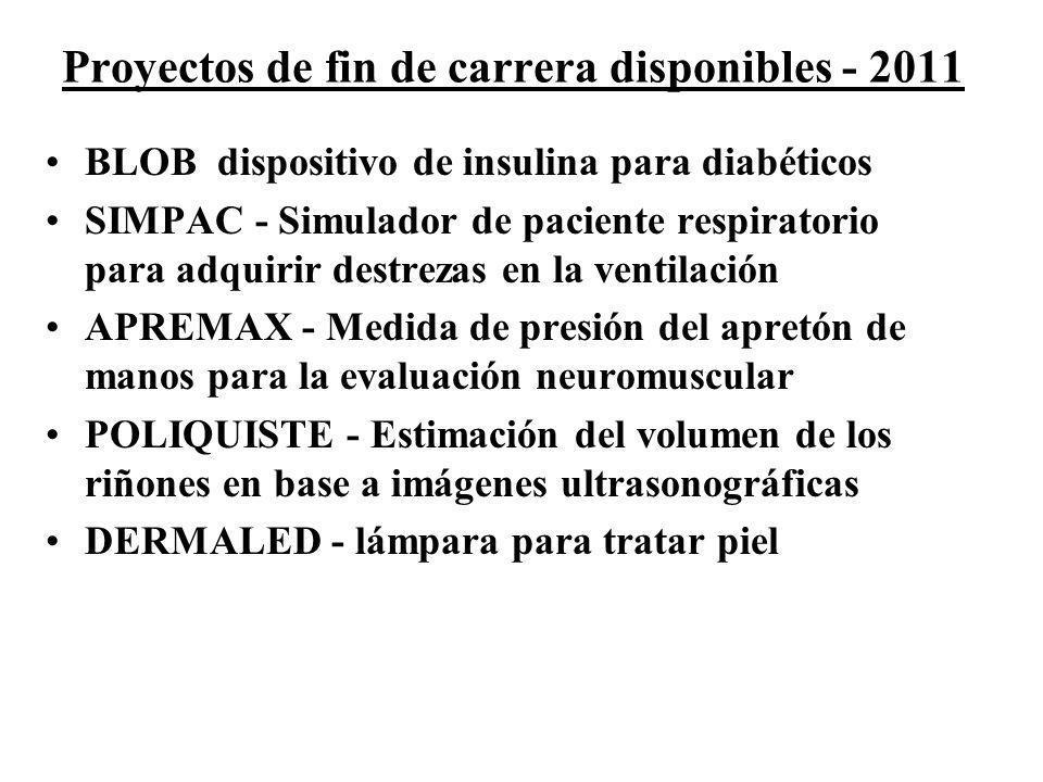 Proyectos de fin de carrera disponibles - 2011 BLOB dispositivo de insulina para diabéticos SIMPAC - Simulador de paciente respiratorio para adquirir