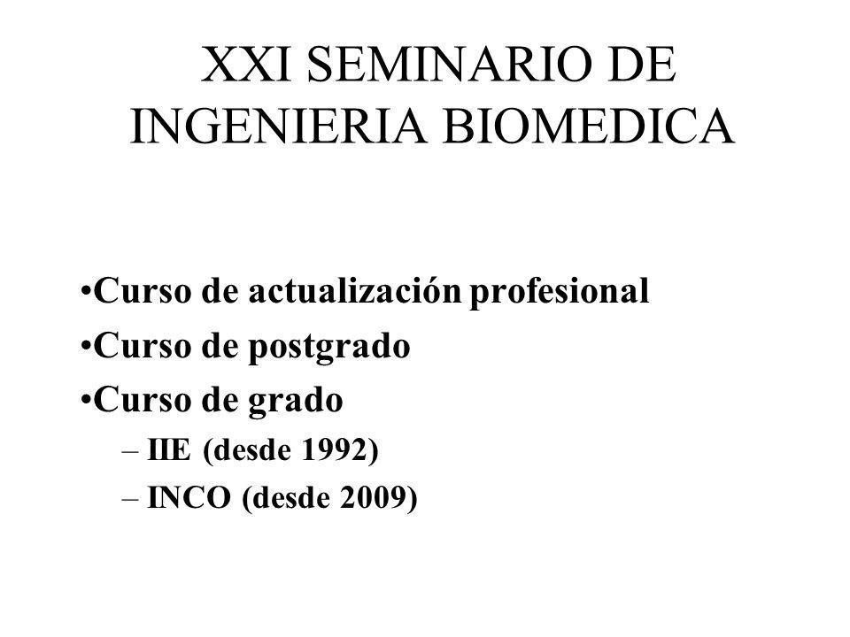 XXI SEMINARIO DE INGENIERIA BIOMEDICA 19 de junio de 2012 A determinar