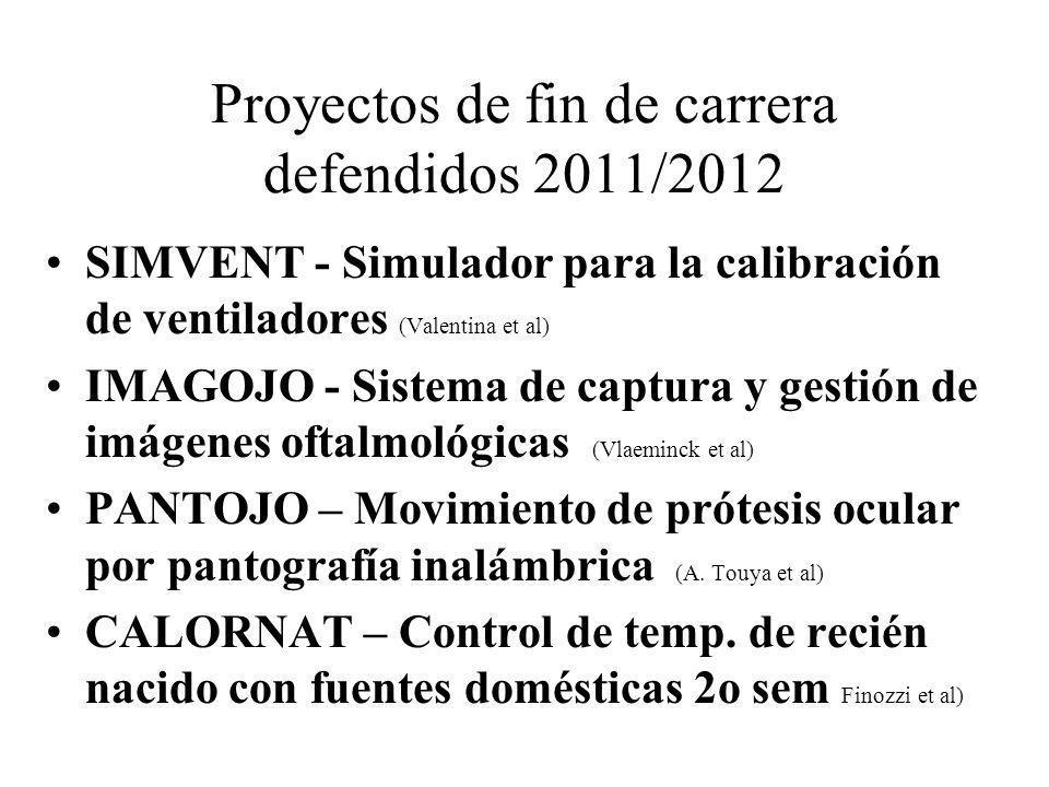 Proyectos de fin de carrera defendidos 2011/2012 SIMVENT - Simulador para la calibración de ventiladores (Valentina et al) IMAGOJO - Sistema de captur