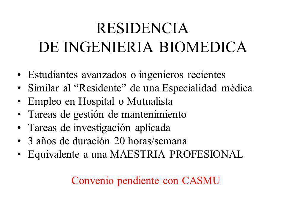 RESIDENCIA DE INGENIERIA BIOMEDICA Estudiantes avanzados o ingenieros recientes Similar al Residente de una Especialidad médica Empleo en Hospital o M