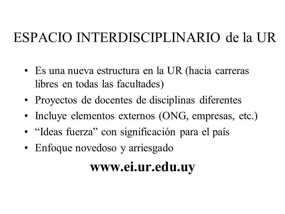 ESPACIO INTERDISCIPLINARIO de la UR Es una nueva estructura en la UR (hacia carreras libres en todas las facultades) Proyectos de docentes de discipli