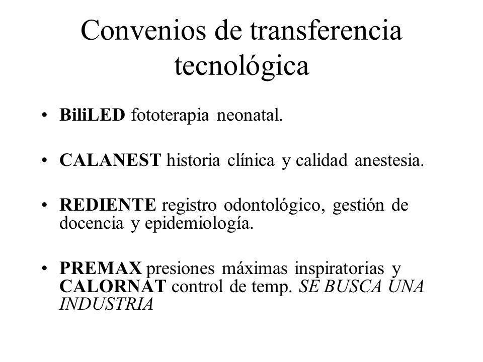 Convenios de transferencia tecnológica BiliLED fototerapia neonatal. CALANEST historia clínica y calidad anestesia. REDIENTE registro odontológico, ge