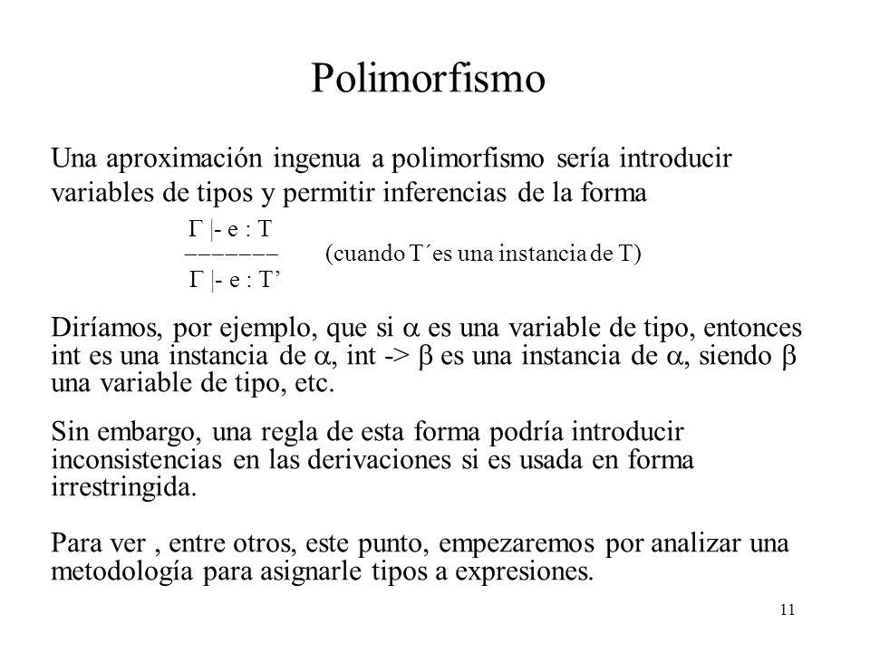 11 Polimorfismo Una aproximación ingenua a polimorfismo sería introducir variables de tipos y permitir inferencias de la forma |- e : T (cuando T´es una instancia de T) |- e : T Diríamos, por ejemplo, que si es una variable de tipo, entonces int es una instancia de, int -> es una instancia de, siendo una variable de tipo, etc.