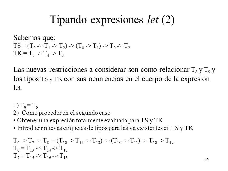 19 Tipando expresiones let (2) Sabemos que: TS = (T 0 -> T 1 -> T 2 ) -> (T 0 -> T 1 ) -> T 0 -> T 2 TK = T 3 -> T 4 -> T 3 Las nuevas restricciones a considerar son como relacionar T 8 y T 9 y los tipos TS y TK con sus ocurrencias en el cuerpo de la expresión let.