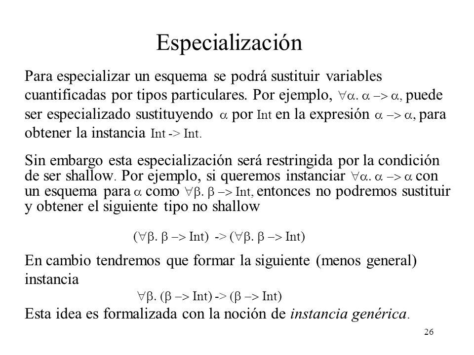 26 Especialización Para especializar un esquema se podrá sustituir variables cuantificadas por tipos particulares.