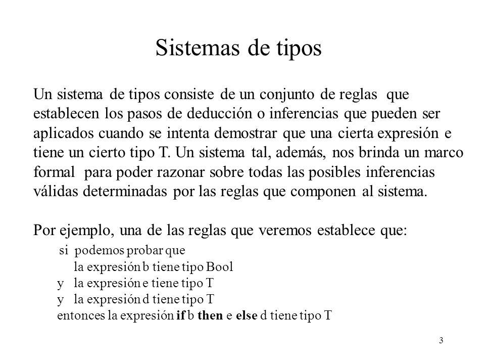 3 Sistemas de tipos Un sistema de tipos consiste de un conjunto de reglas que establecen los pasos de deducción o inferencias que pueden ser aplicados cuando se intenta demostrar que una cierta expresión e tiene un cierto tipo T.