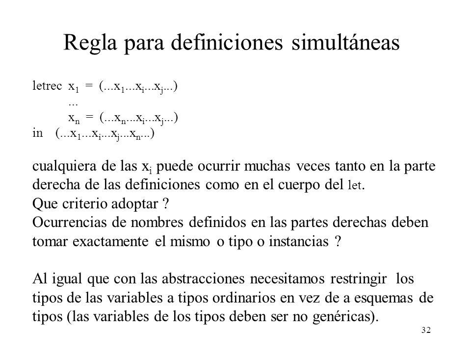 32 Regla para definiciones simultáneas letrec x 1 = (...x 1...x i...x j...)...