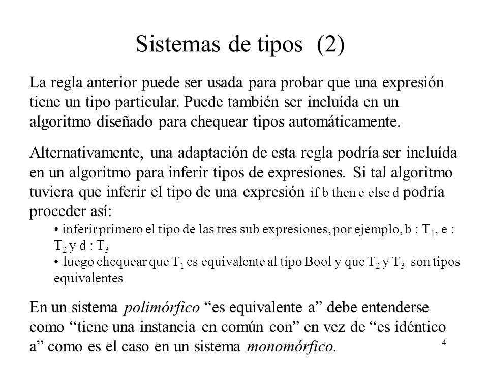 4 Sistemas de tipos (2) La regla anterior puede ser usada para probar que una expresión tiene un tipo particular.