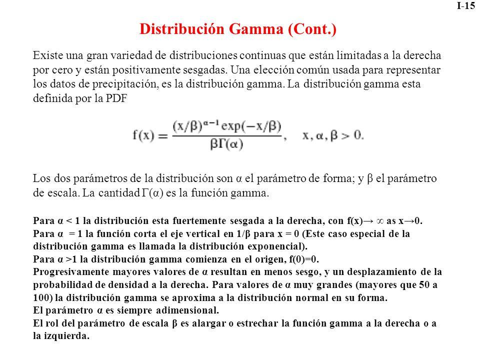 I-15 Distribución Gamma (Cont.) Existe una gran variedad de distribuciones continuas que están limitadas a la derecha por cero y están positivamente s
