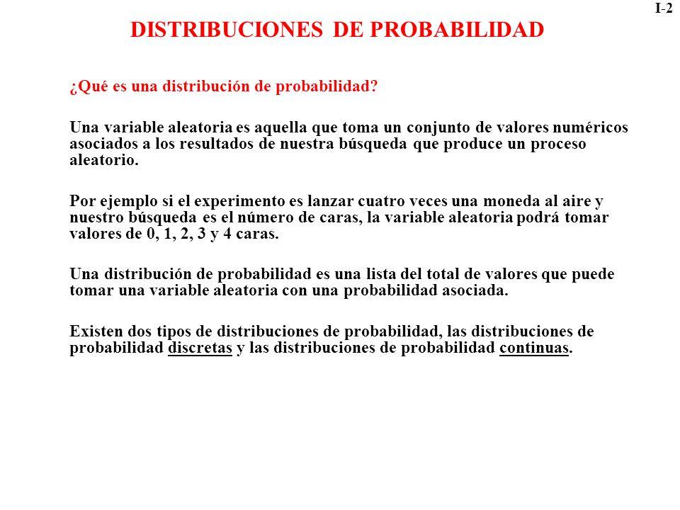 I-2 DISTRIBUCIONES DE PROBABILIDAD ¿Qué es una distribución de probabilidad? Una variable aleatoria es aquella que toma un conjunto de valores numéric