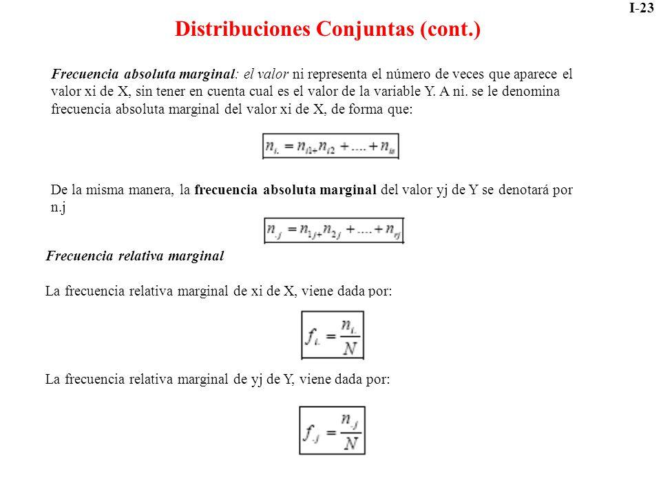 I-23 Distribuciones Conjuntas (cont.) Frecuencia absoluta marginal: el valor ni representa el número de veces que aparece el valor xi de X, sin tener