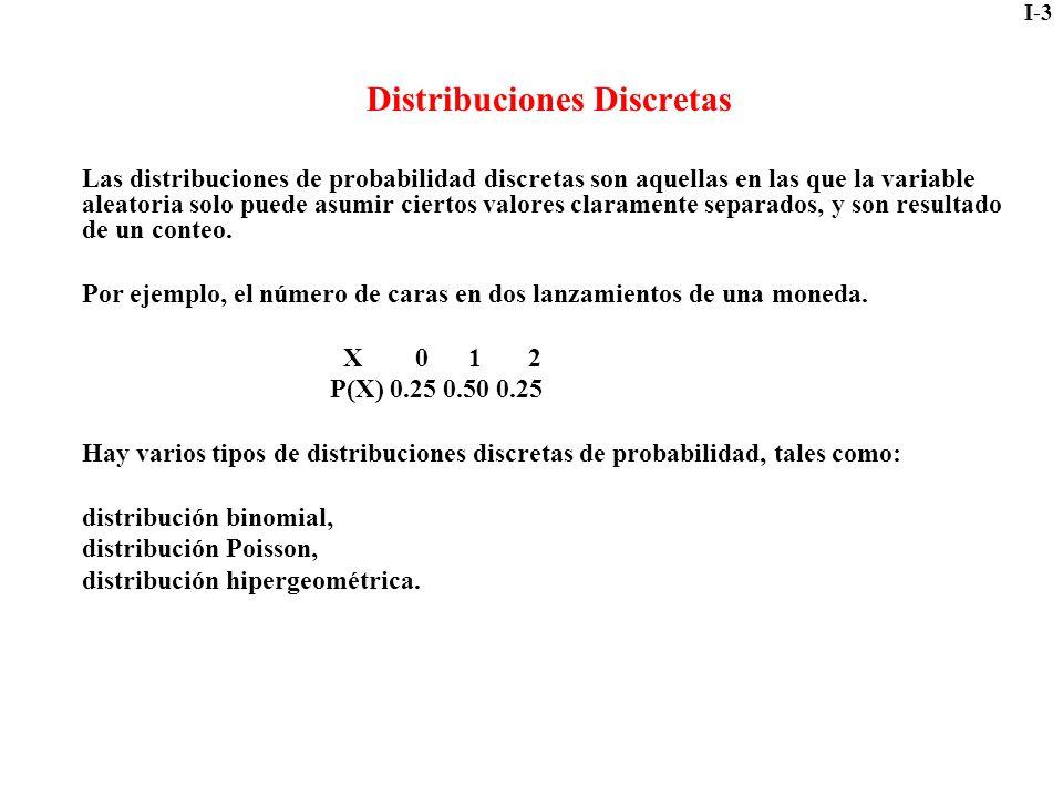 I-3 Distribuciones Discretas Las distribuciones de probabilidad discretas son aquellas en las que la variable aleatoria solo puede asumir ciertos valo