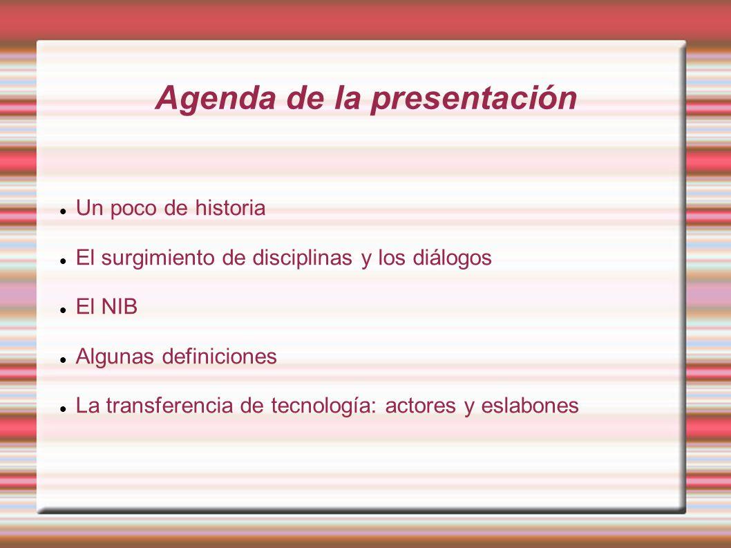 Agenda de la presentación Un poco de historia El surgimiento de disciplinas y los diálogos El NIB Algunas definiciones La transferencia de tecnología: actores y eslabones