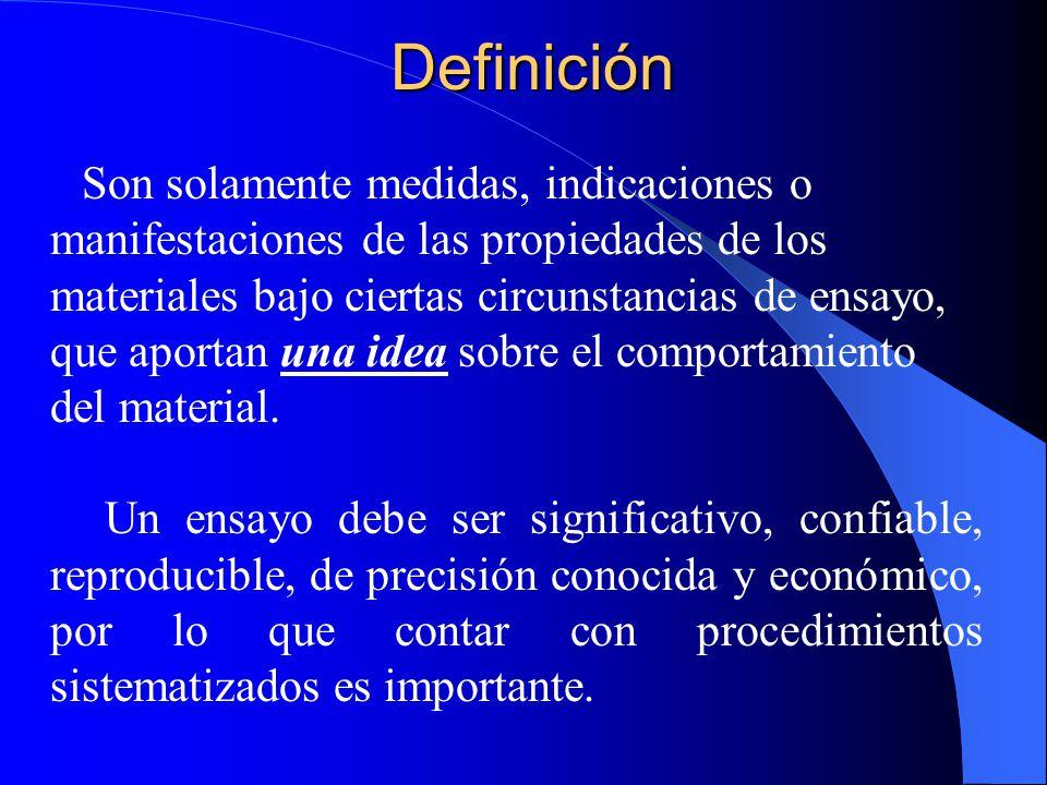 Definición Son solamente medidas, indicaciones o manifestaciones de las propiedades de los materiales bajo ciertas circunstancias de ensayo, que aport