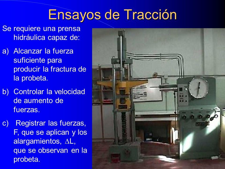 Ensayos de Tracción Se requiere una prensa hidráulica capaz de: a)Alcanzar la fuerza suficiente para producir la fractura de la probeta. b)Controlar l