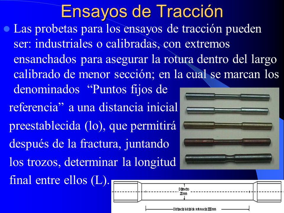 Ensayos de Tracción Las probetas para los ensayos de tracción pueden ser: industriales o calibradas, con extremos ensanchados para asegurar la rotura