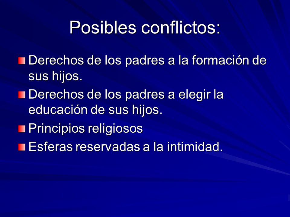 Posibles conflictos: Derechos de los padres a la formación de sus hijos. Derechos de los padres a elegir la educación de sus hijos. Principios religio