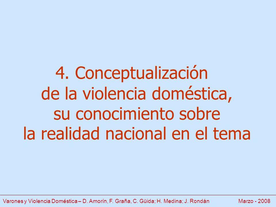 4. Conceptualización de la violencia doméstica, su conocimiento sobre la realidad nacional en el tema Varones y Violencia Doméstica – D. Amorín, F. Gr