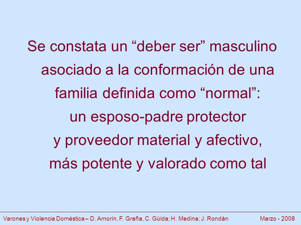Se constata un deber ser masculino asociado a la conformación de una familia definida como normal: un esposo-padre protector y proveedor material y afectivo, más potente y valorado como tal Varones y Violencia Doméstica – D.