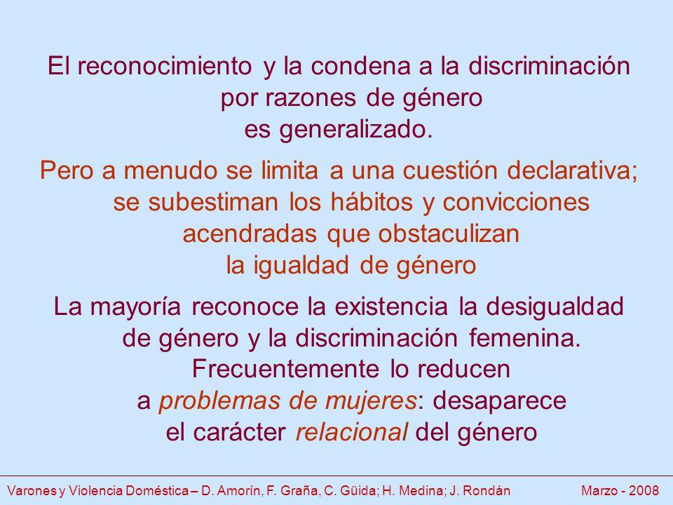 El reconocimiento y la condena a la discriminación por razones de género es generalizado.