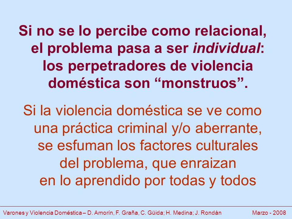 Si no se lo percibe como relacional, el problema pasa a ser individual: los perpetradores de violencia doméstica son monstruos.
