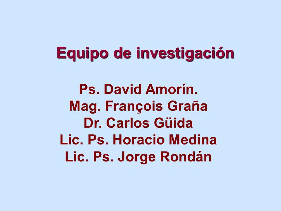 Equipo de investigación Ps. David Amorín. Mag. François Graña Dr.
