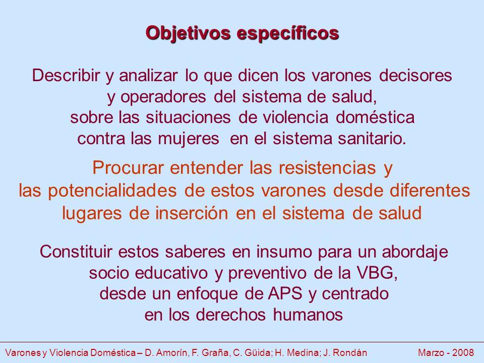 Objetivos específicos Objetivos específicos Describir y analizar lo que dicen los varones decisores y operadores del sistema de salud, sobre las situaciones de violencia doméstica contra las mujeres en el sistema sanitario.