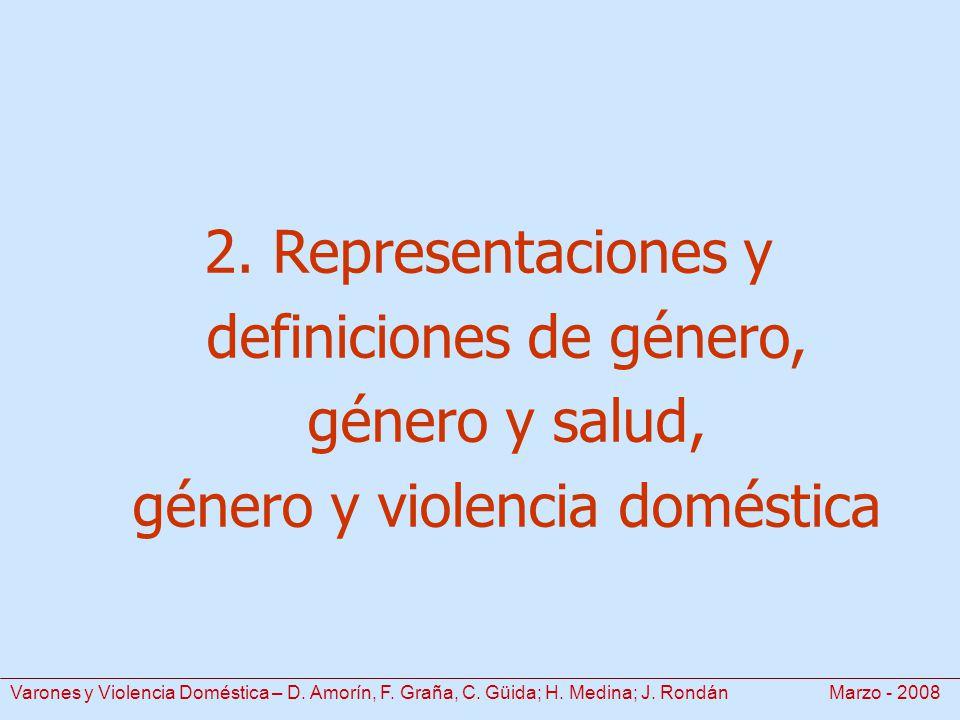 2. Representaciones y definiciones de género, género y salud, género y violencia doméstica Varones y Violencia Doméstica – D. Amorín, F. Graña, C. Güi