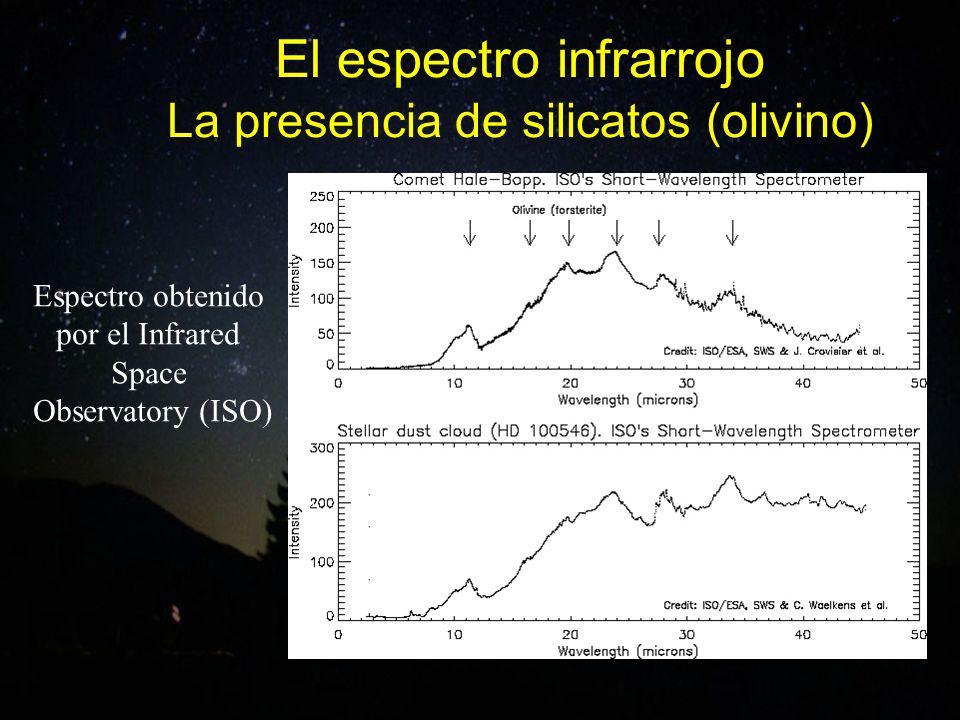 El espectro infrarrojo La presencia de silicatos (olivino) Espectro obtenido por el Infrared Space Observatory (ISO)