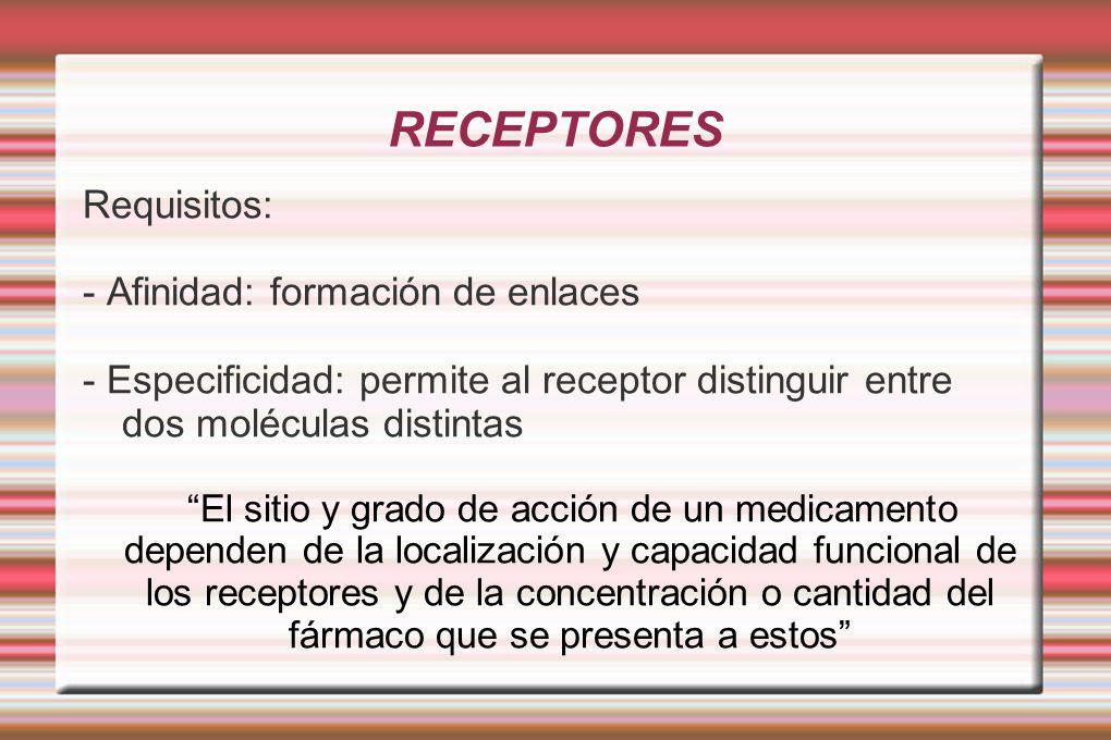 RECEPTORES Requisitos: - Afinidad: formación de enlaces - Especificidad: permite al receptor distinguir entre dos moléculas distintas El sitio y grado de acción de un medicamento dependen de la localización y capacidad funcional de los receptores y de la concentración o cantidad del fármaco que se presenta a estos