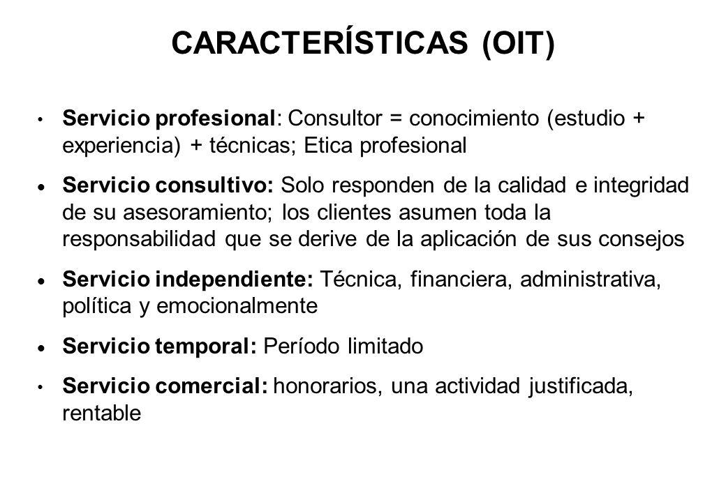 CARACTERÍSTICAS (OIT) Servicio profesional: Consultor = conocimiento (estudio + experiencia) + técnicas; Etica profesional Servicio consultivo: Solo r