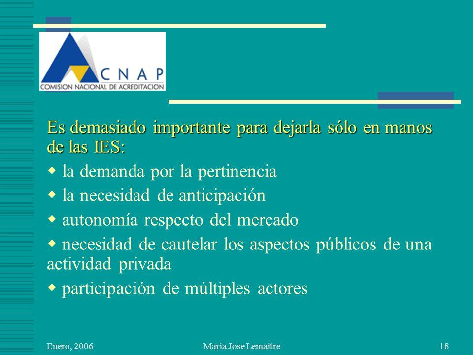 Enero, 2006 Maria Jose Lemaitre18 Es demasiado importante para dejarla sólo en manos de las IES: la demanda por la pertinencia la necesidad de anticipación autonomía respecto del mercado necesidad de cautelar los aspectos públicos de una actividad privada participación de múltiples actores