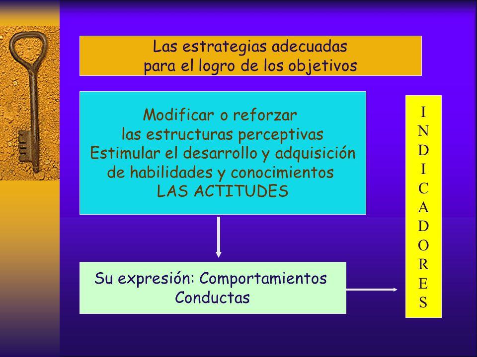 Las estrategias adecuadas para el logro de los objetivos Modificar o reforzar las estructuras perceptivas Estimular el desarrollo y adquisición de habilidades y conocimientos LAS ACTITUDES Su expresión: Comportamientos Conductas INDICADORESINDICADORES