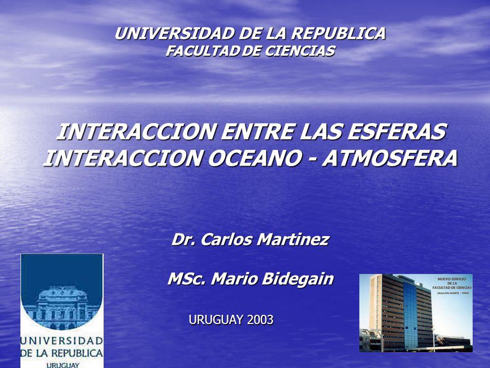 UNIVERSIDAD DE LA REPUBLICA FACULTAD DE CIENCIAS INTERACCION ENTRE LAS ESFERAS INTERACCION OCEANO - ATMOSFERA Dr. Carlos Martinez MSc. Mario Bidegain