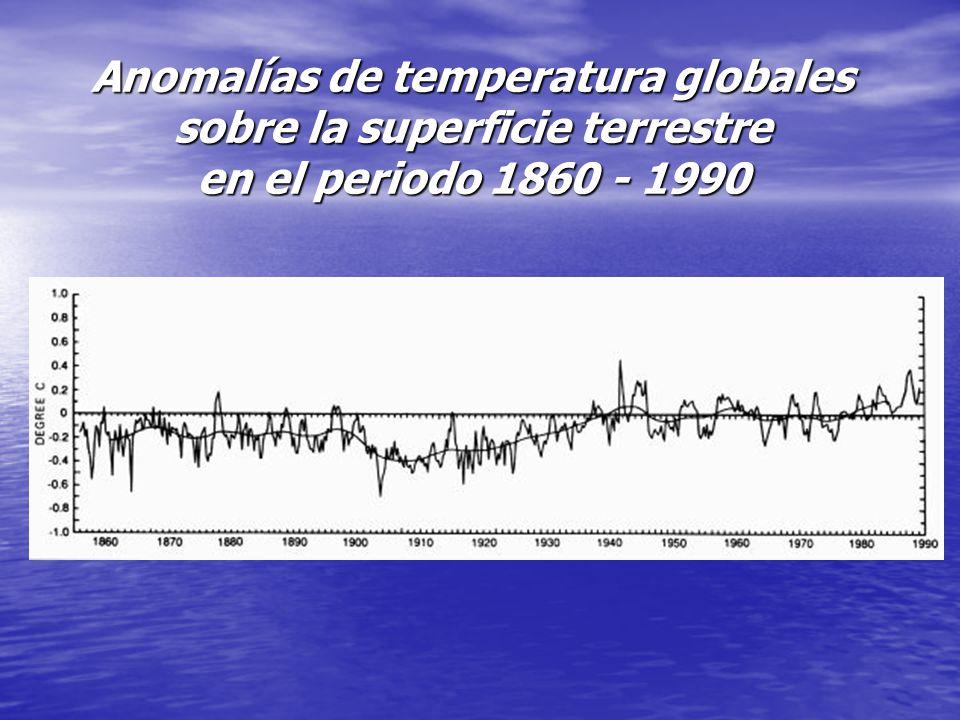 Anomalías de temperatura globales sobre la superficie terrestre en el periodo 1860 - 1990
